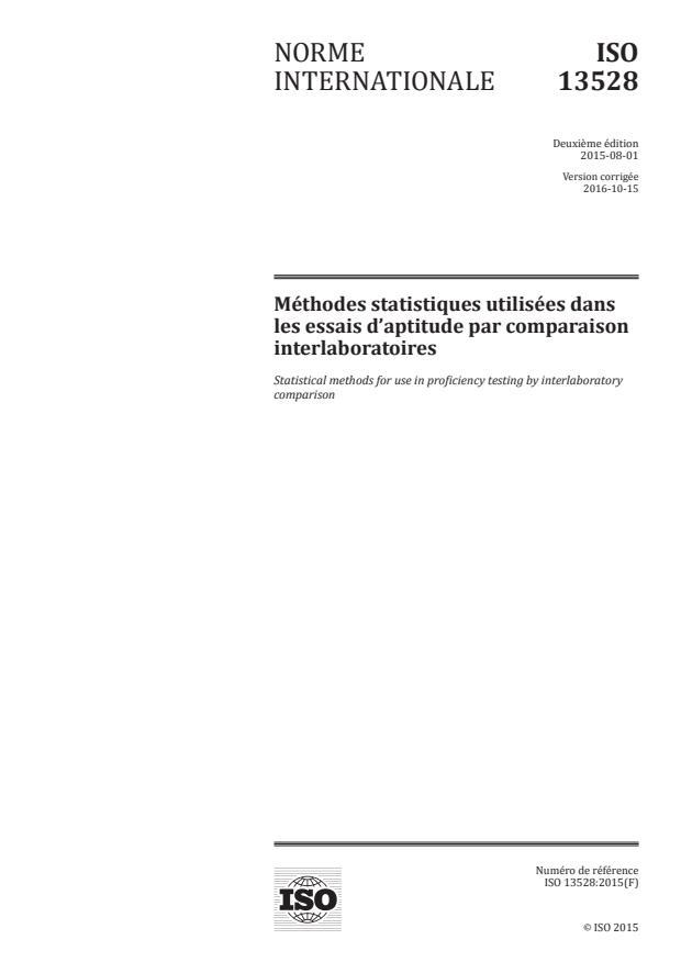 ISO 13528:2015 - Méthodes statistiques utilisées dans les essais d'aptitude par comparaison interlaboratoires