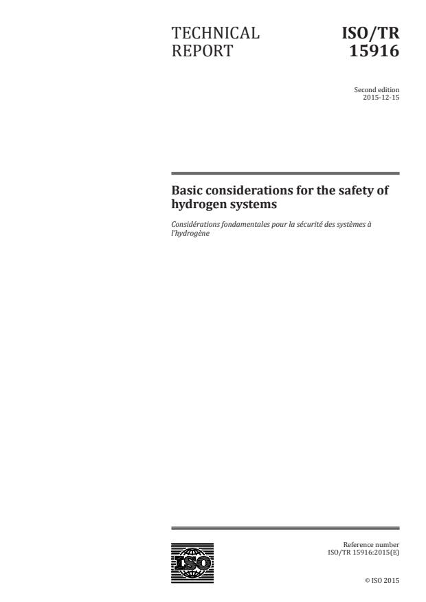 ISO/TR 15916:2015 - Basic considerations for the safety of hydrogen systems