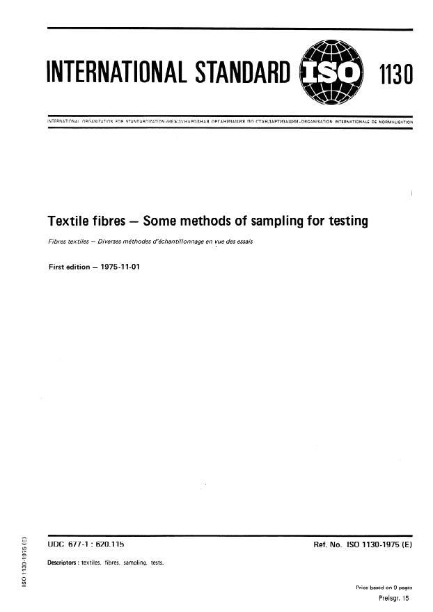 ISO 1130:1975 - Textile fibres -- Some methods of sampling for testing