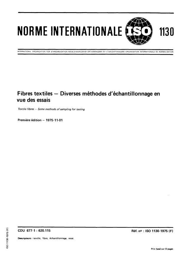 ISO 1130:1975 - Fibres textiles -- Diverses méthodes d'échantillonnage en vue des essais