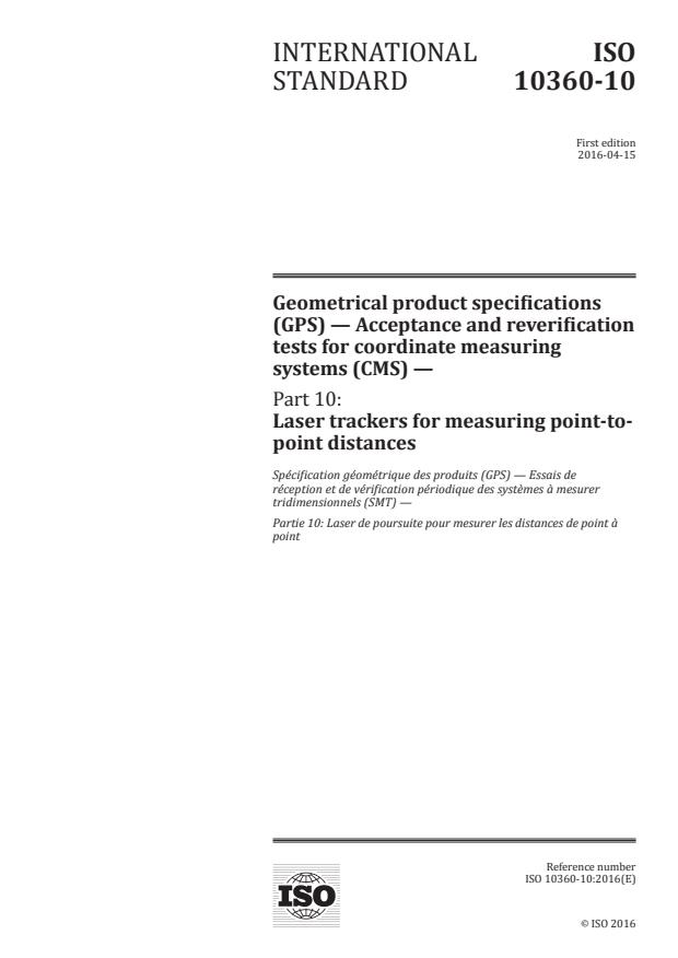 ISO 10360-10:2016 - Geometrical product specifications (GPS) -- Acceptance and reverification tests for coordinate measuring systems (CMS)