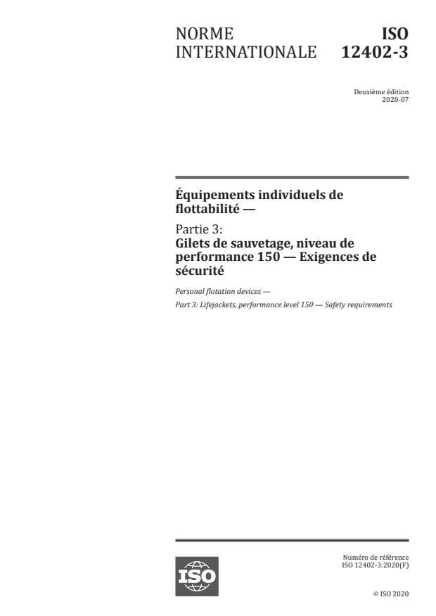 ISO 12402-3:2020 - Équipements individuels de flottabilité