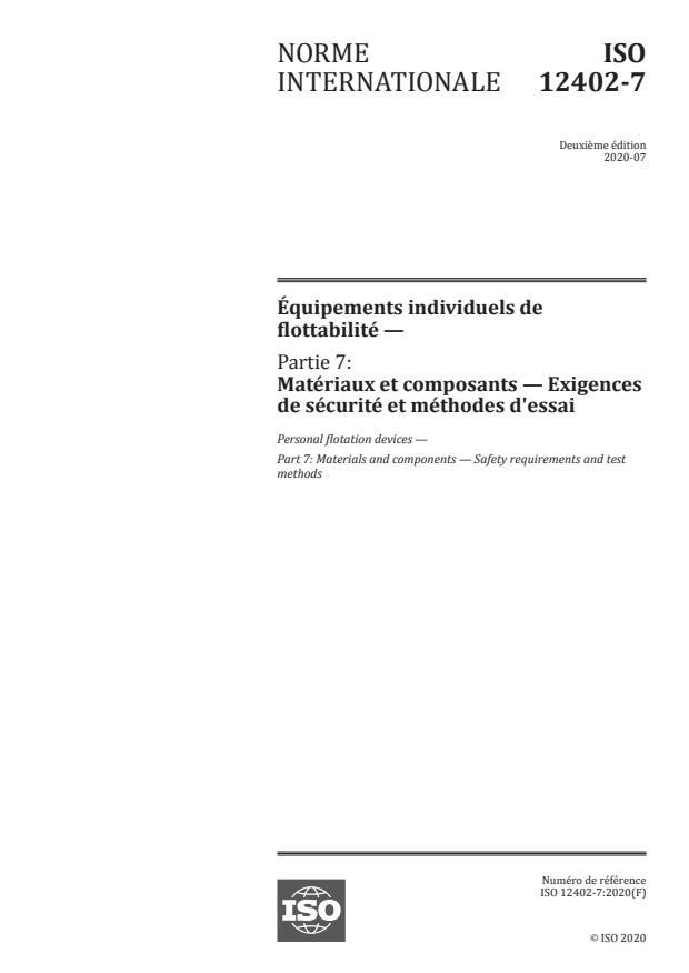 ISO 12402-7:2020 - Équipements individuels de flottabilité