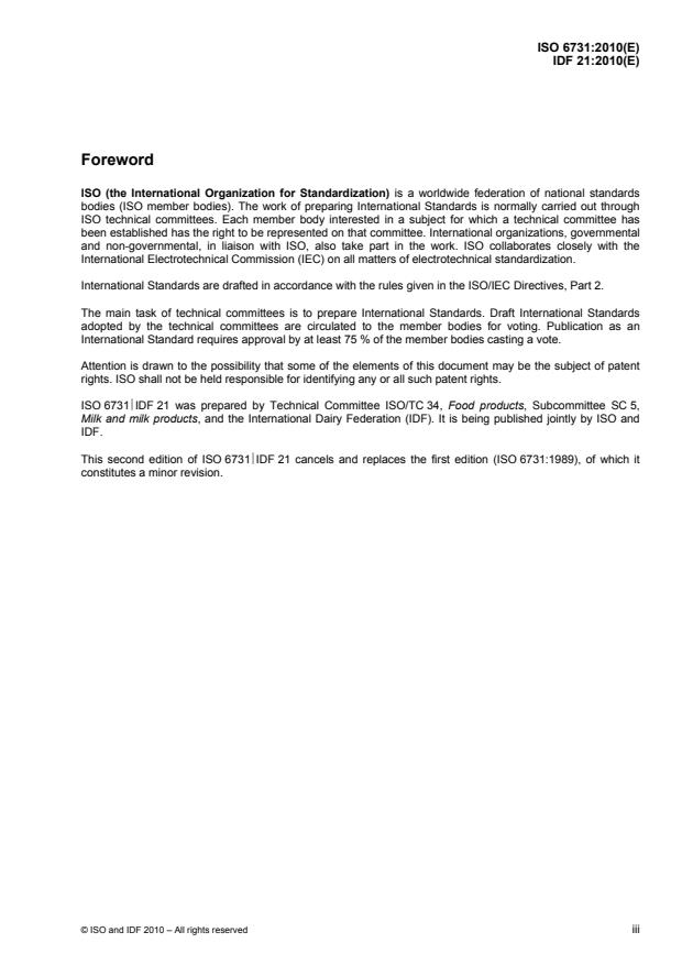 ISO 6731:2010 - Milk, cream and evaporated milk -- Determination of total solids content (Reference method)