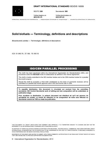 ISO 16559:2014 - Solid biofuels -- Terminology, definitions and descriptions