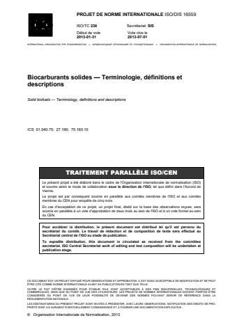 ISO 16559:2014 - Biocombustibles solides -- Terminologie, définitions et descriptions