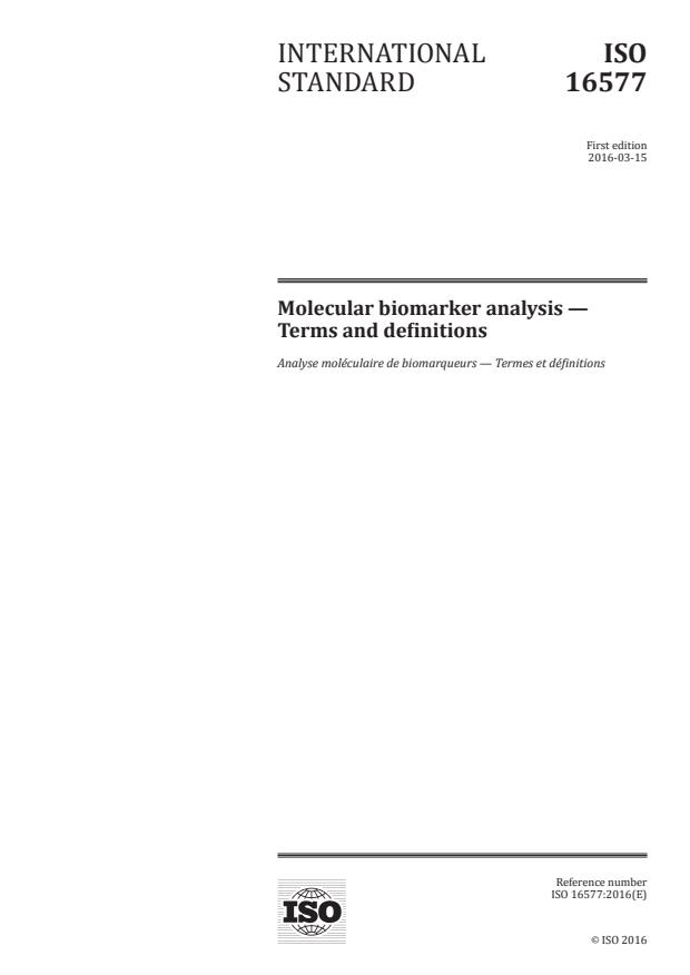 ISO 16577:2016 - Molecular biomarker analysis -- Terms and definitions