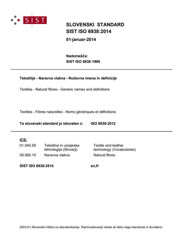 SIST ISO 6938:2014