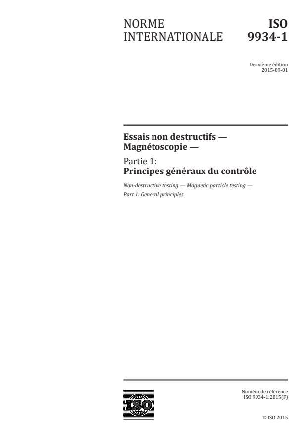 ISO 9934-1:2015 - Essais non destructifs -- Magnétoscopie