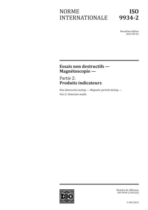ISO 9934-2:2015 - Essais non destructifs -- Magnétoscopie