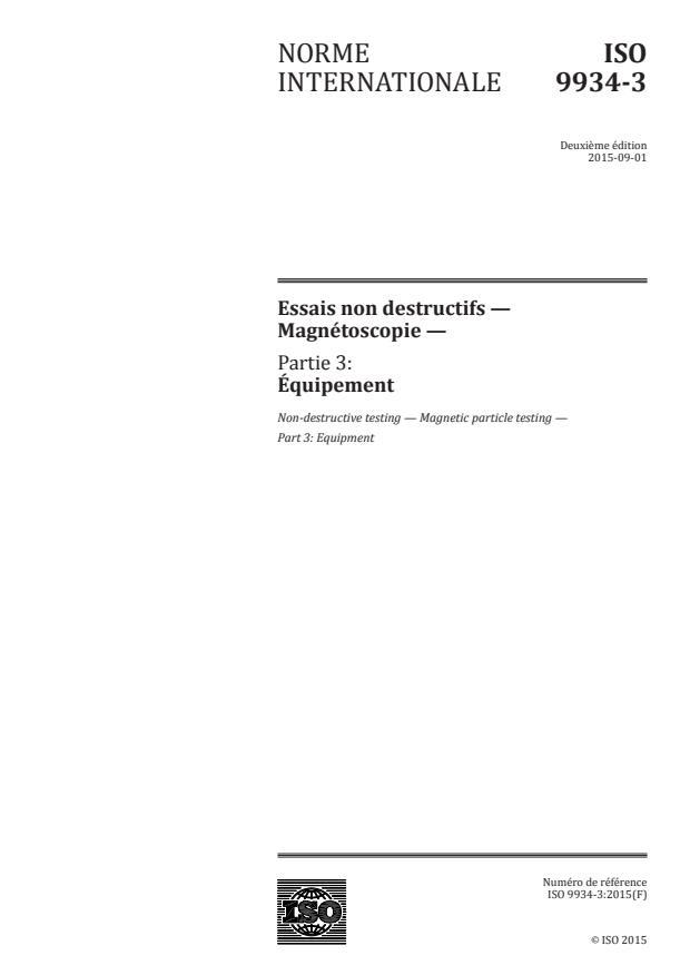 ISO 9934-3:2015 - Essais non destructifs -- Magnétoscopie
