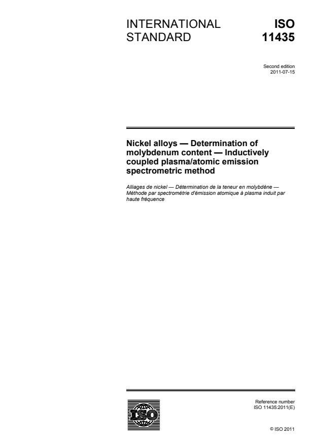 ISO 11435:2011 - Nickel alloys -- Determination of molybdenum content -- Inductively coupled plasma/atomic emission spectrometric method
