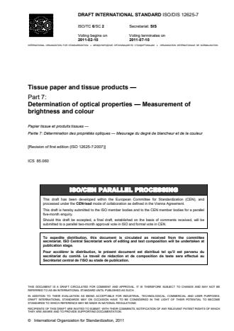 ISO 12625-7:2014 - Tissue paper and tissue products
