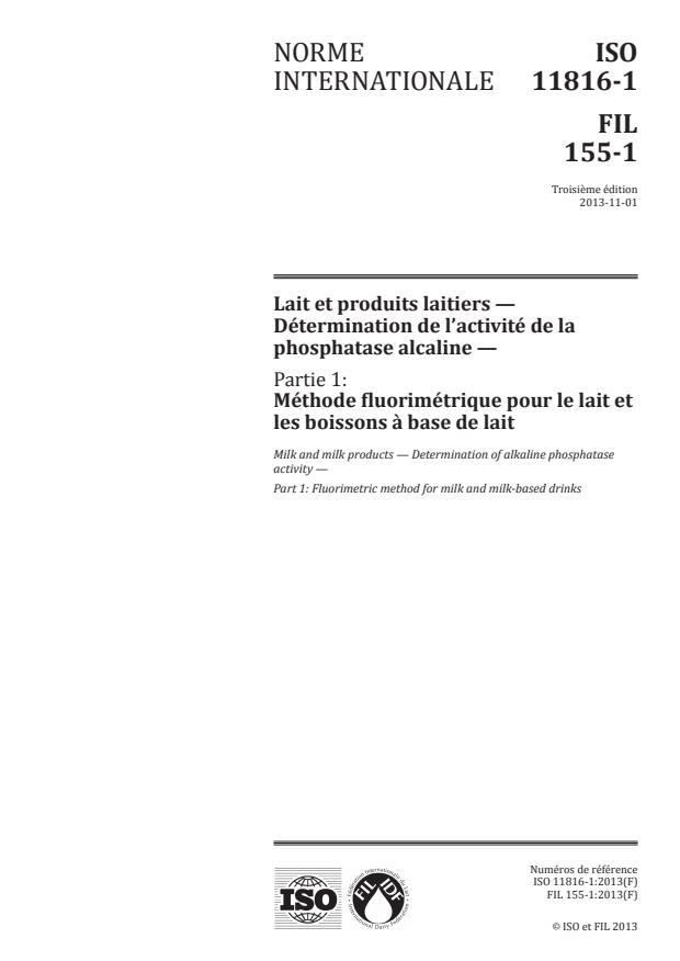 ISO 11816-1:2013 - Lait et produits laitiers -- Détermination de l'activité de la phosphatase alcaline