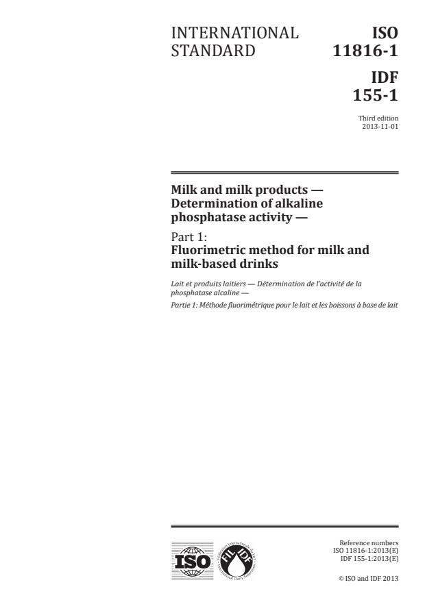 ISO 11816-1:2013 - Milk and milk products -- Determination of alkaline phosphatase activity