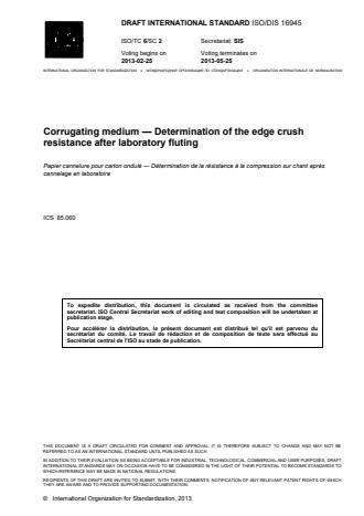 ISO 16945:2014 - Corrugating medium -- Determination of the edge crush resistance after laboratory fluting