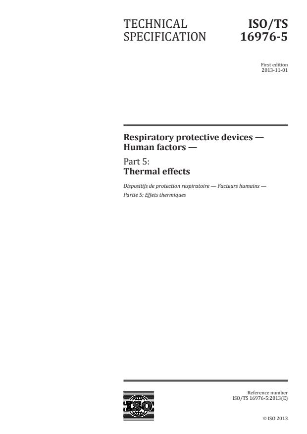 ISO/TS 16976-5:2013 - Respiratory protective devices -- Human factors