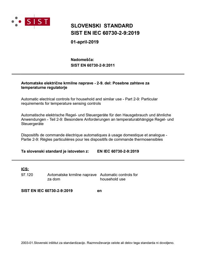 EN IEC 60730-2-9:2019