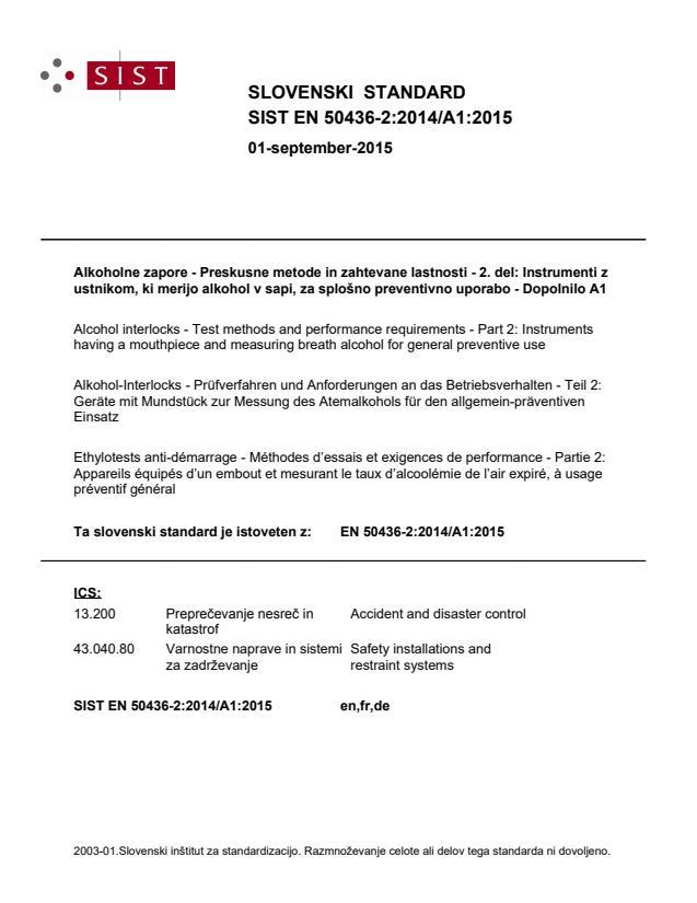 SIST EN 50436-2:2014/A1:2015