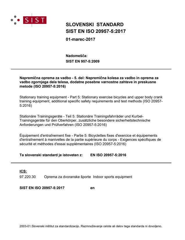 SIST EN ISO 20957-5:2017