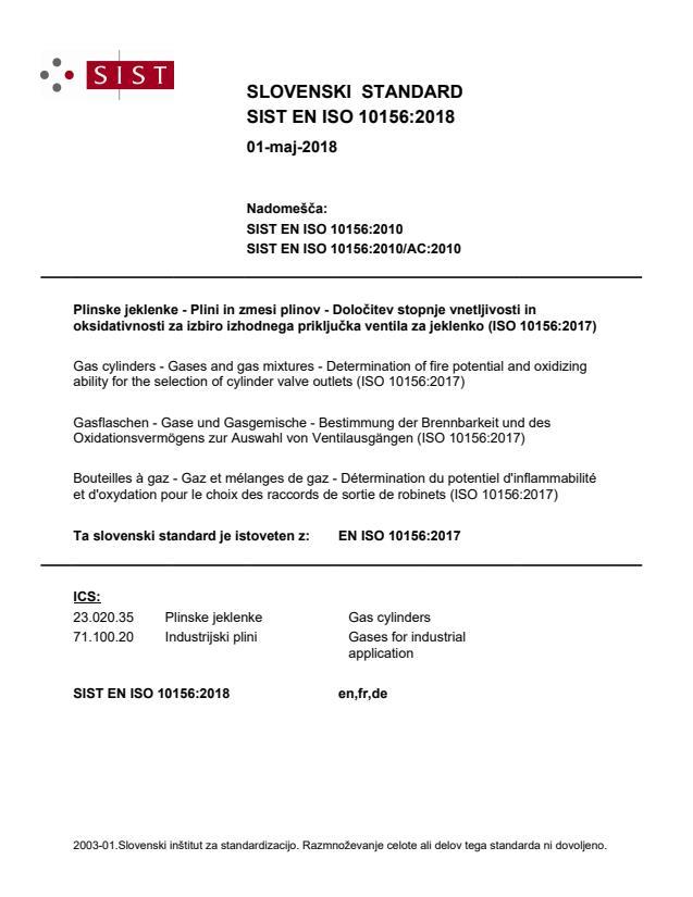 SIST EN ISO 10156:2018