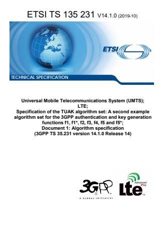 ETSI TS 135 231 V14.1.0 (2019-10)