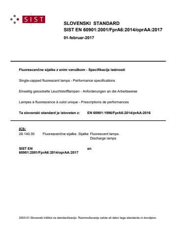 SIST EN 60901:2001/FprA6:2014/oprAA:2017
