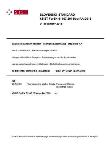 kSIST FprEN 61167:2014/oprAA:2015