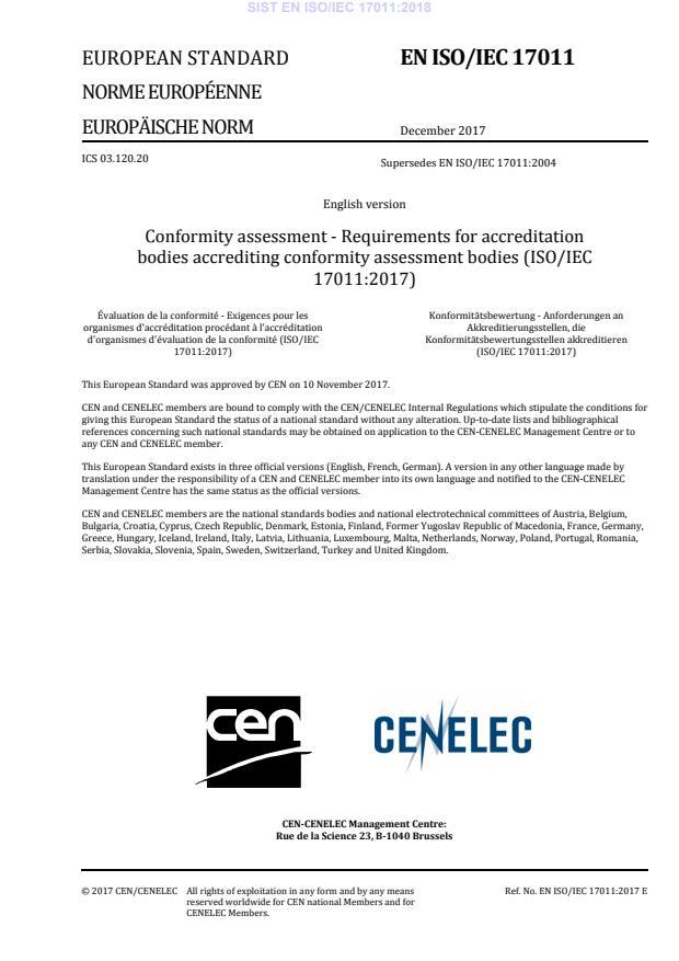 SIST EN ISO/IEC 17011:2018