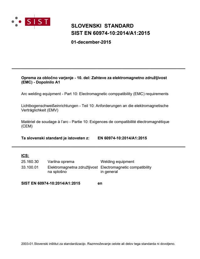 EN 60974-10:2014/A1:2015