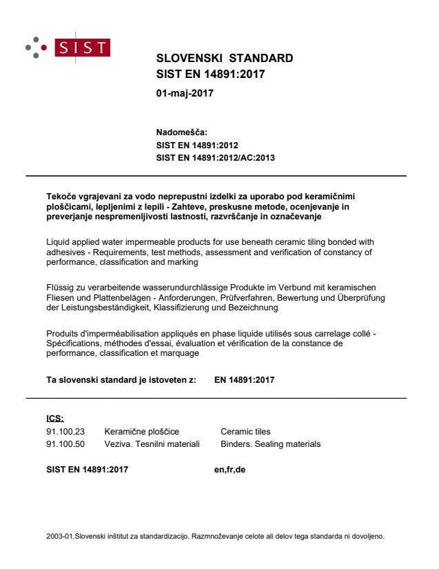 EN 14891:2017 - natisnjeno za čitalnico