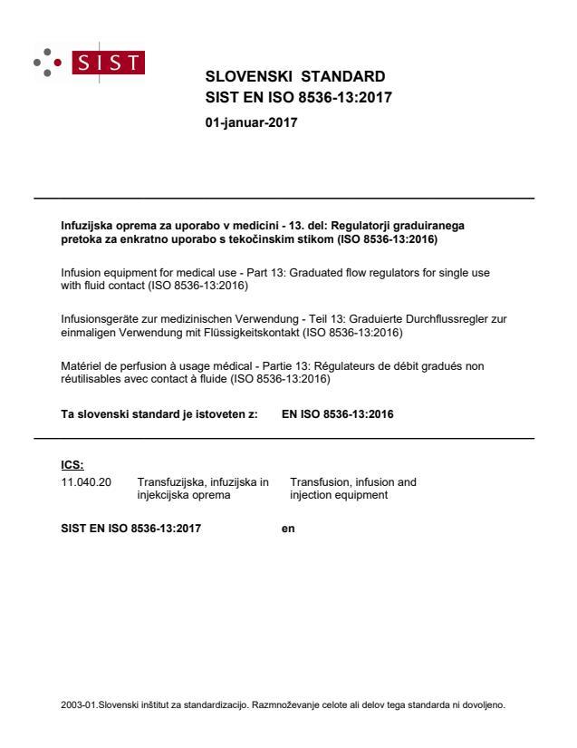 SIST EN ISO 8536-13:2017