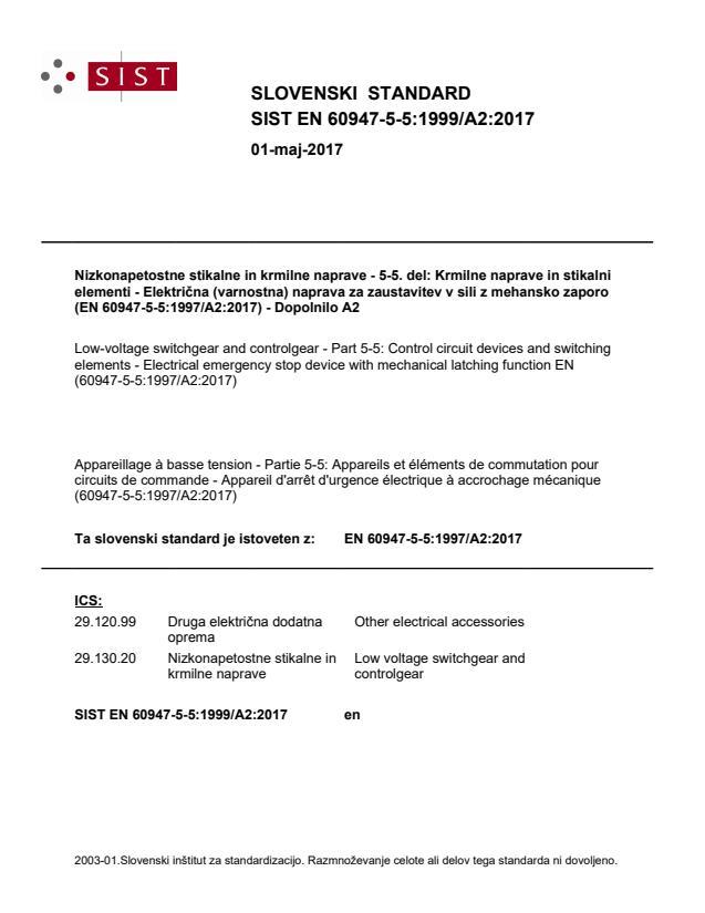 SIST EN 60947-5-5:1999/A2:2017