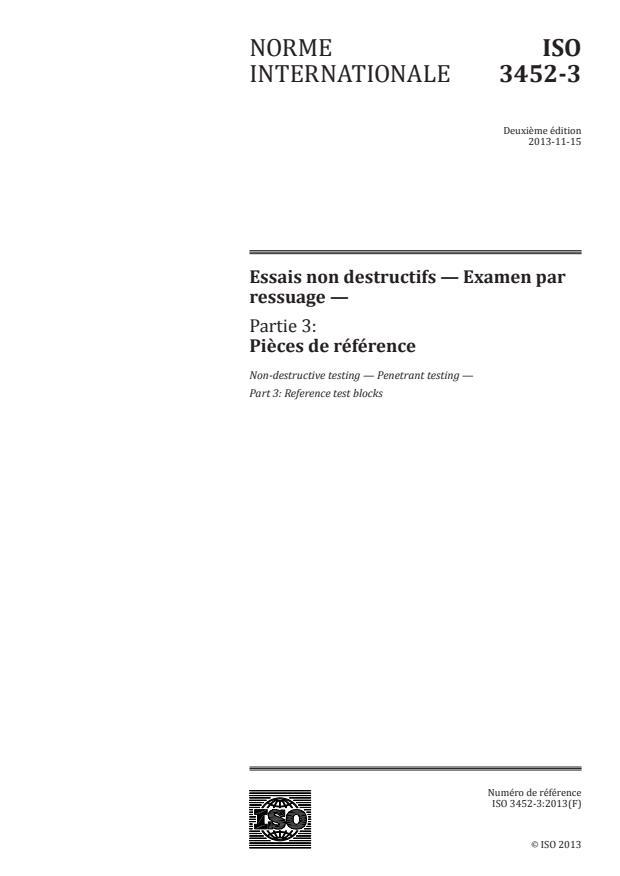 ISO 3452-3:2013 - Essais non destructifs -- Examen par ressuage
