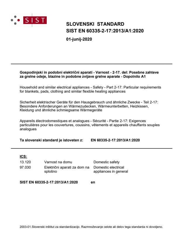 SIST EN 60335-2-17:2013/A1:2020