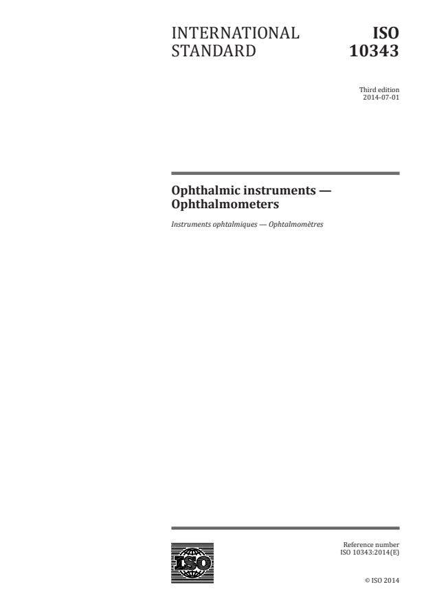 ISO 10343:2014 - Ophthalmic instruments -- Ophthalmometers