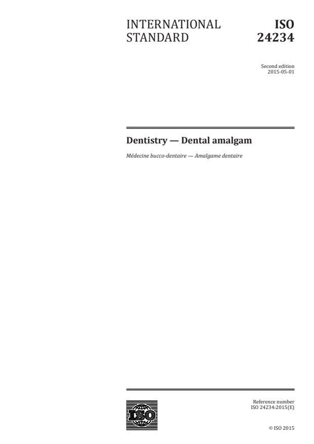 ISO 24234:2015 - Dentistry -- Dental amalgam