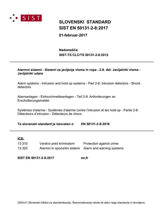 SIST EN 50131-2-8:2017