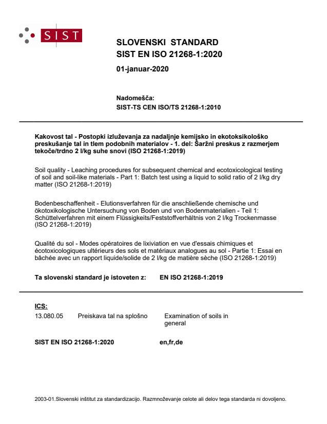 SIST EN ISO 21268-1:2020