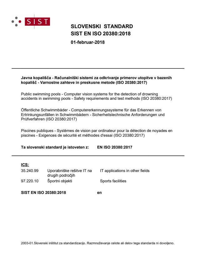 SIST EN ISO 20380:2018
