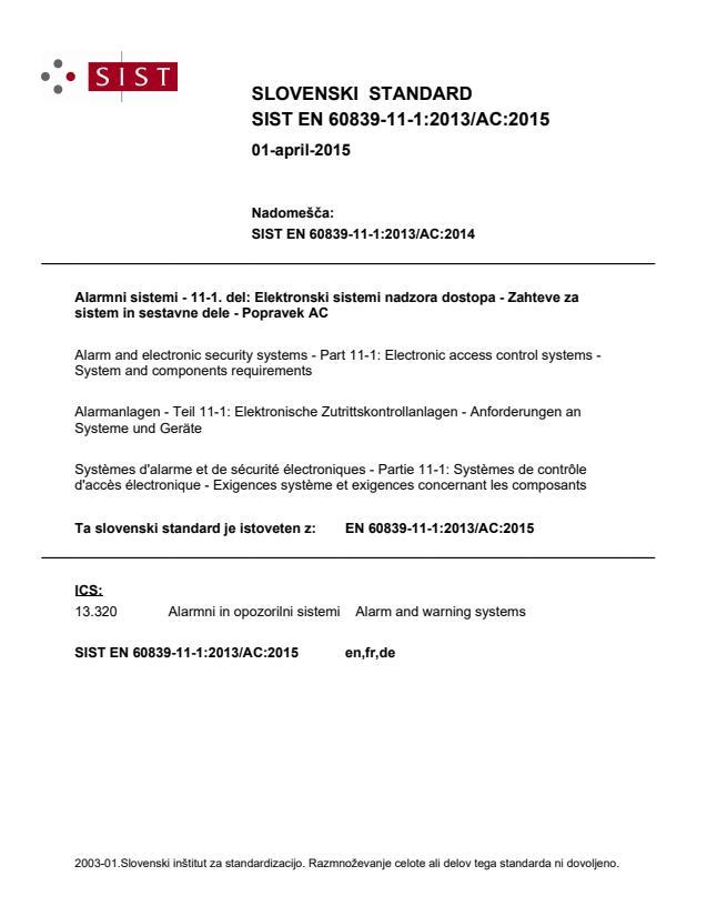 SIST EN 60839-11-1:2013/AC:2015