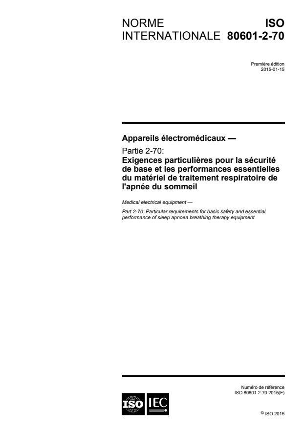 ISO 80601-2-70:2015 - Appareils électromédicaux