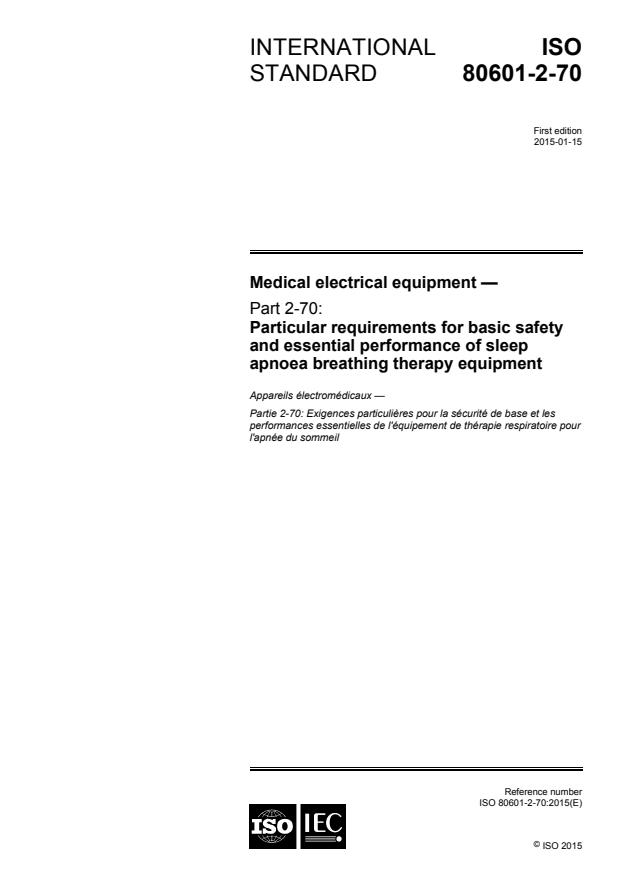ISO 80601-2-70:2015 - Medical electrical equipment