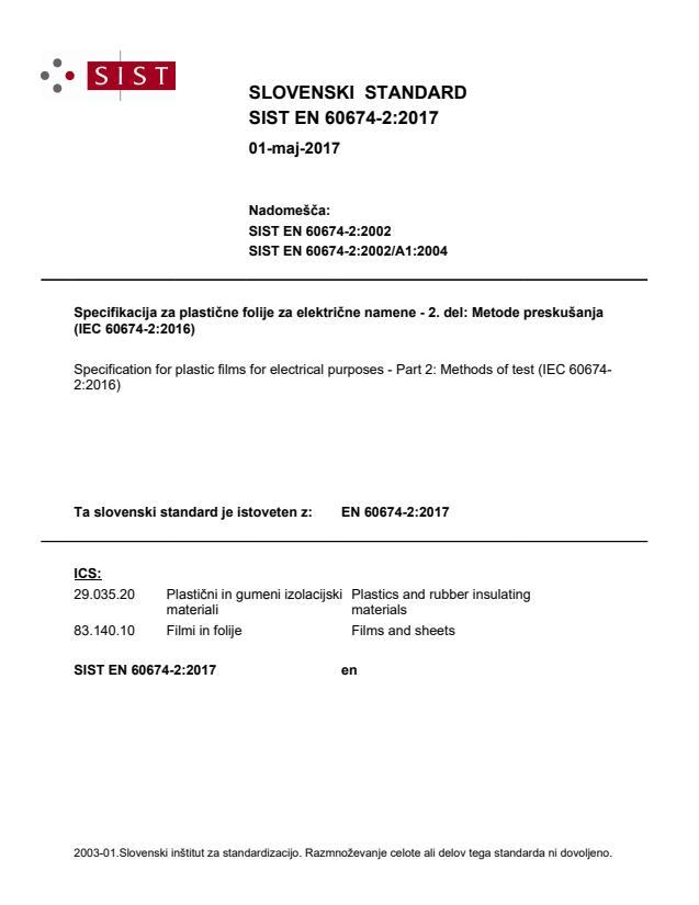 SIST EN 60674-2:2017