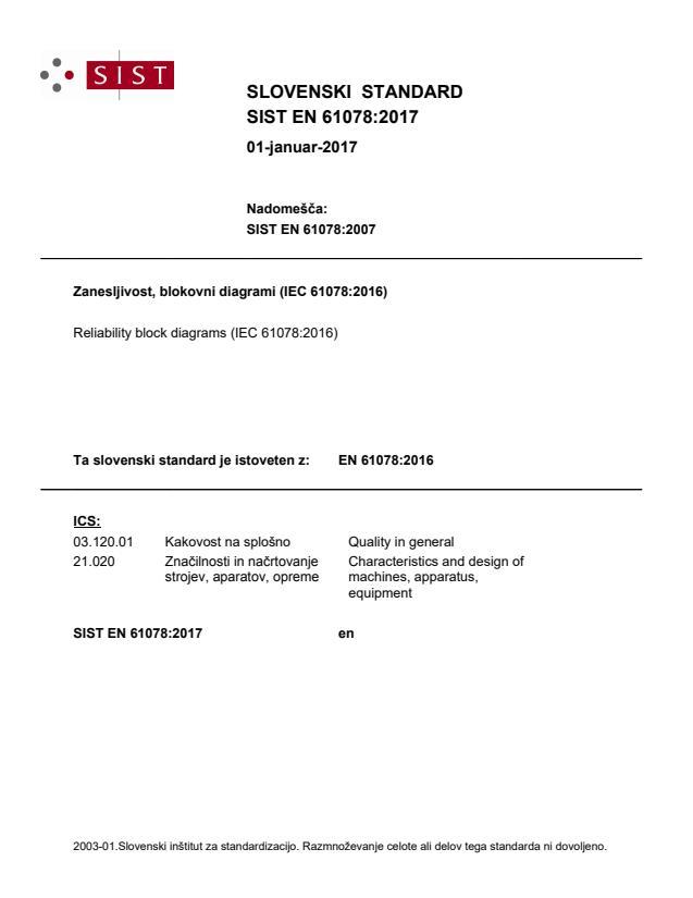 SIST EN 61078:2017 - natisnjeno za čitalnico