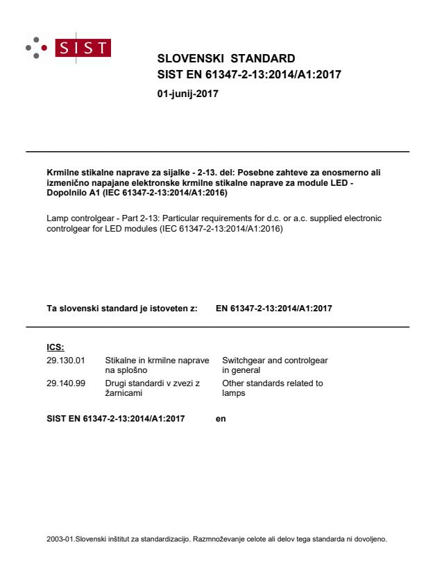 EN 61347-2-13:2014/A1:2017