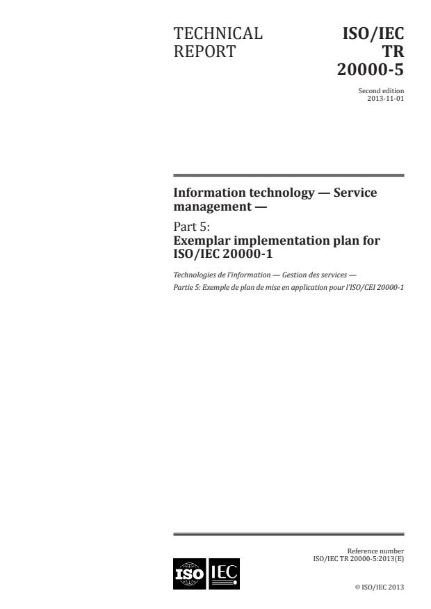 ISO/IEC TR 20000-5:2013 - Information technology -- Service management