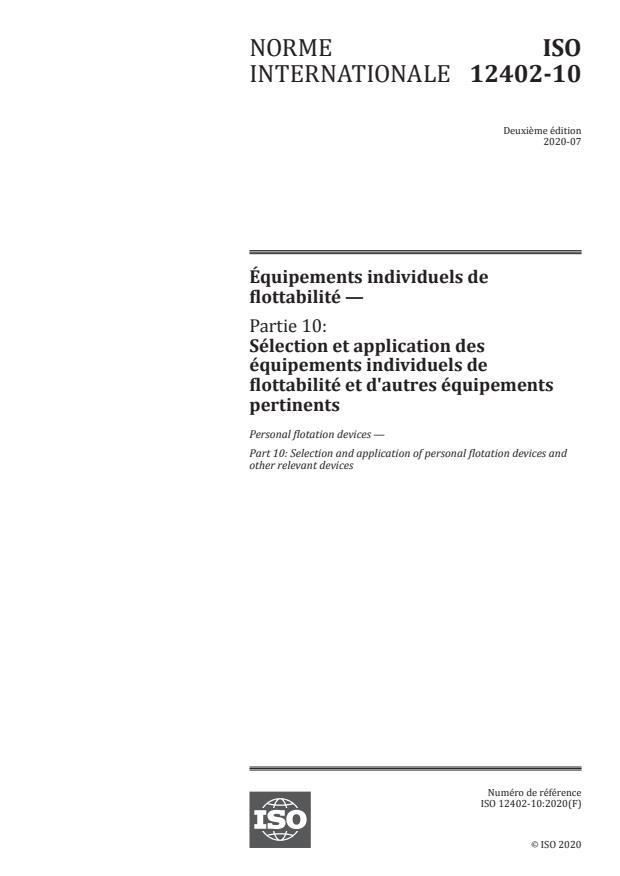ISO 12402-10:2020 - Équipements individuels de flottabilité