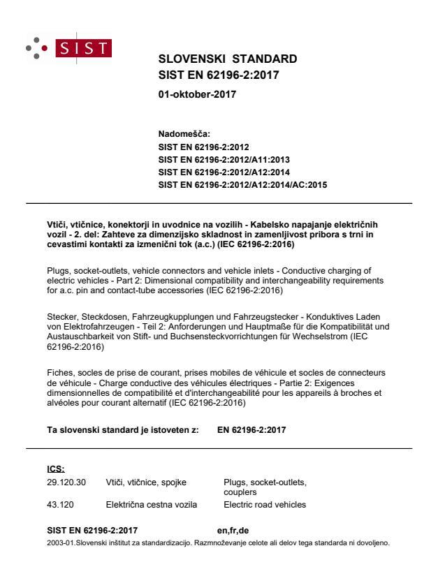 EN 62196-2:2017 - natisnjeno za čitalnico