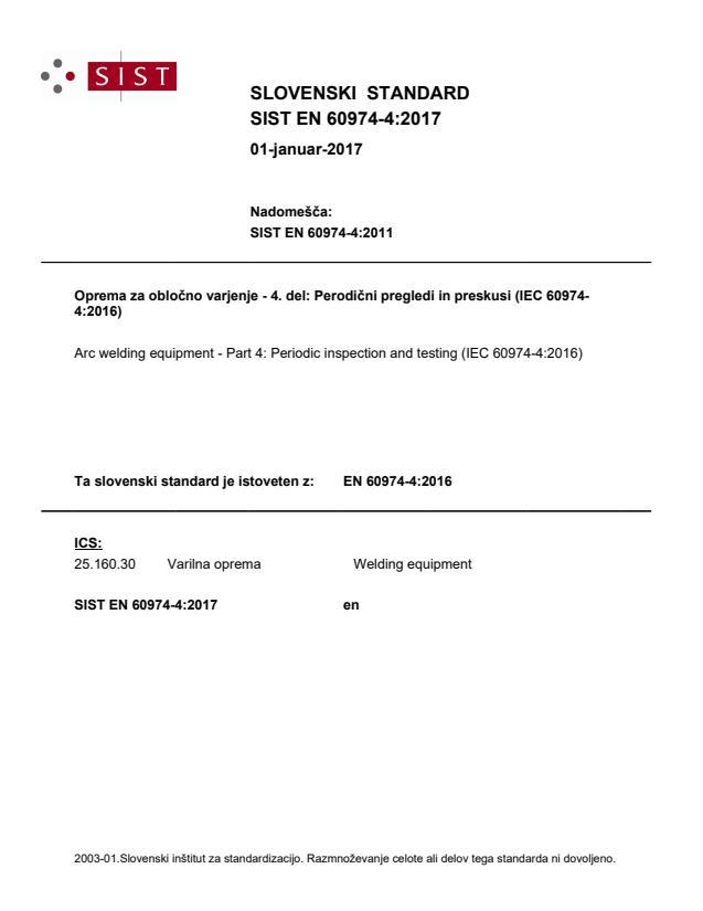 EN 60974-4:2017 - natisnjeno za čitalnico